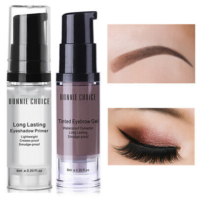 2Pcs BONNIE CHOICE 6ml Eye Shadow Primer Eyebrow Gel Cream Cosmetic Long-lasting