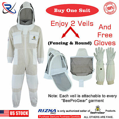 professional beekeeping 3 Layer full suit ventilated jacket Astronaut veil@M