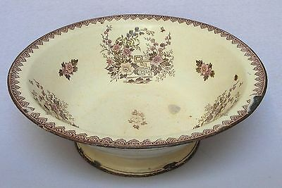 Rare Lovely Large Antique 1800s Vintage French Enamel Bowl with Floral Pattern