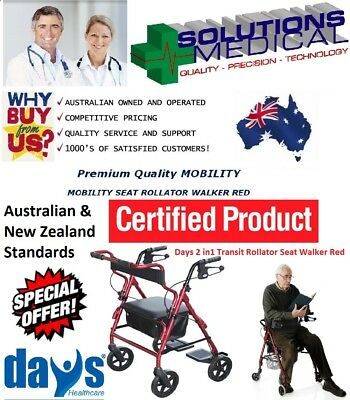 DAYS 2 in1 TRANSIT ROLLATOR SEAT WALKER & TRANSPORT CHAIR RED 160KG CAPACITY