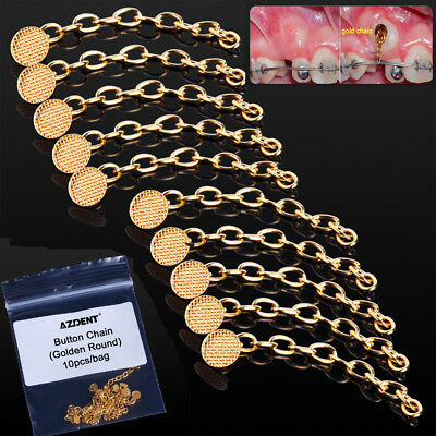 10pcs Orthodontic Dental Traction Chain Golden Round Mesh Base Lingual Buttons