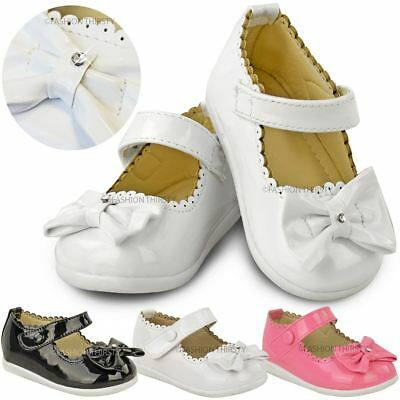 Baby Girls Kids Childrens Patent Bow Pram Wedding Christening Party Shoes Size
