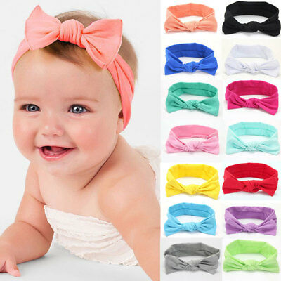 Cute Toddler Kids Girl Baby Bowknot Headband Hair Band Headwear Head Wrap Cotton