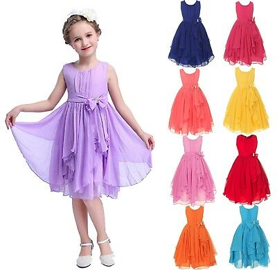 Girls Flower Bridesmaid Dress Wedding Birthday Party Prom Gown Dresses Age 3-12