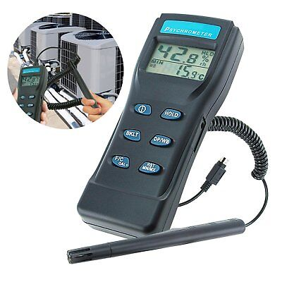 Thermo-Hygrometer Psychrometer Humidity RH Meter Gauge with Wet Bulb Temperature