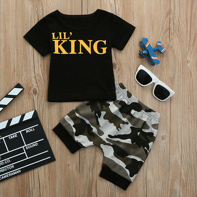 Baby Kids Boys Letter T-shirt Tops + Camouflage Shorts Pants Outfits Clothes Set