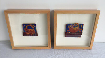 Pair of hand embroidered ginger cats by Welsh textile artist, Ruth Harries