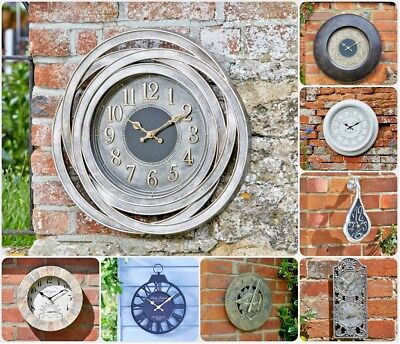 Garden Wall Clock Outdoor Indoor Thermometer Novelty Home Decor Roman Numerals
