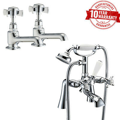 Traditional Chrome Basin Taps Pair & Bath Shower Mixer Tap Straight Legs *W