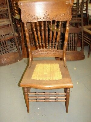 #59 - 1 Antique Pressed Back Chairs w/Reeded Spindles FANCY - For Restoration