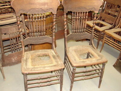 #57 - 2 Antique Pressed Back Chairs w/ Rope Twist Side Posts - For Restoration