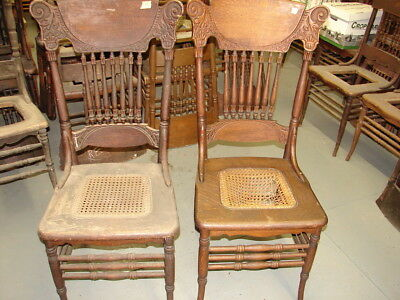 #56 - 2 Antique Pressed Back Chairs w/ Reeded Spindles - For Restoration