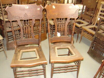 #58 - 2 Antique Pressed Back Chairs w/Reeded Spindles FANCY - For Restoration