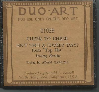 "*PIANO ROLL* Vintage ""DUO ART"" ""Cheek To Cheek from Top Hat"" #01028 Ex Condition"