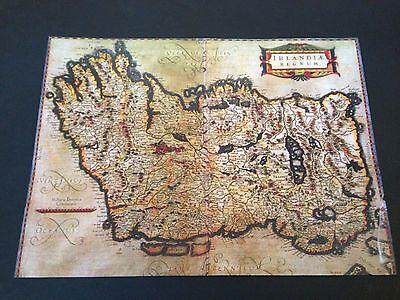Map Of Ireland Poster.Old Map Of Ireland Hundreds Of Place Names In Latin Rare Irish