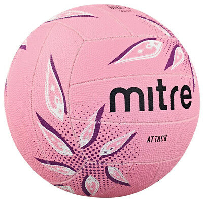 Mitre Attack Training Match All Surface Netball Ball Pink Size 5