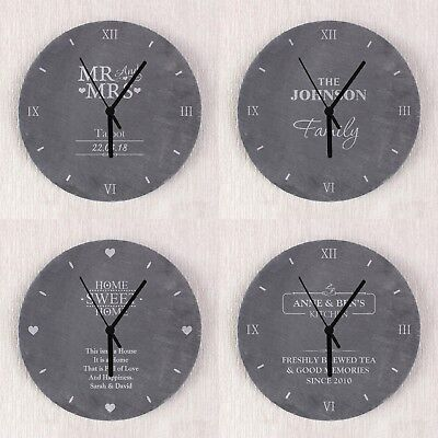 Personalised Slate Clock Wedding House Christmas Anniversary Unique Gift