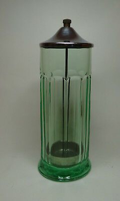Vintage Vaseline Glass Straw Holder Green Depression Soda Fountain 11""