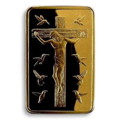 JESUS CHRIST, TEN COMMANDMENTS, 1 OZ, GOLD Plated  BAR, CROSS