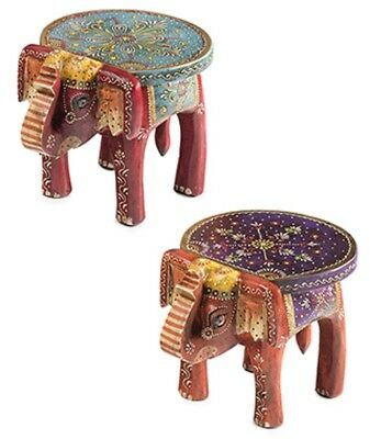 Miraculous Handpainted Wooden Elephant Stool Side Table Hand Carved Onthecornerstone Fun Painted Chair Ideas Images Onthecornerstoneorg