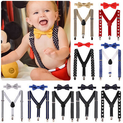 Matching Braces Suspenders and Luxury Bow Tie Set for Kids Children Boys Wedding