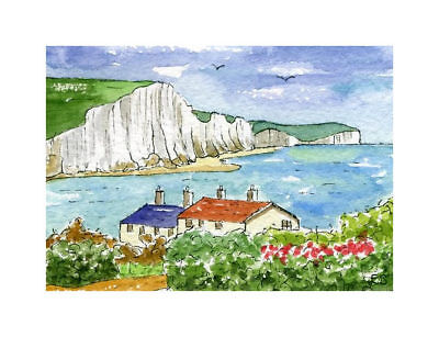 Seven Sisters, Sussex, ACEO Art Card original watercolour painting