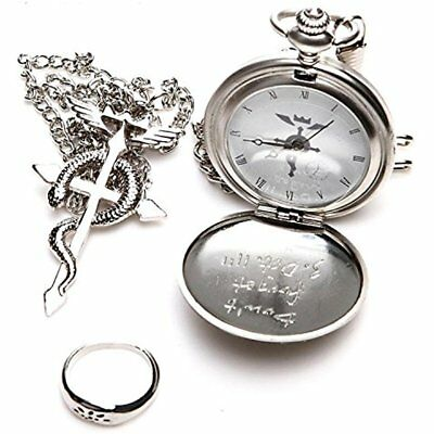 Topwell Full Metal Alchemist Pocket Watch Necklace Ring Edward Elric Anime Gift