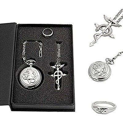 Powshop Fullmetal Alchemist Anime Pocket Watch With Necklace & Ring Watches For