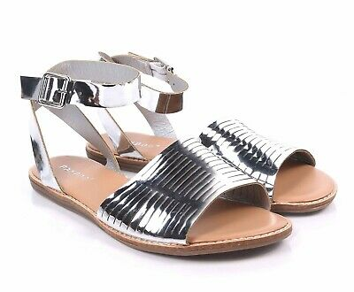 07a074029fc BAMBOO Silver Open Toe Strappy Ankle Buckle Closure Womens Gladiator Sandals