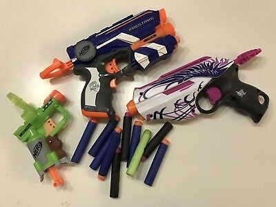 Pre-Owned 3x Mini Nerf Gun Blasters with 10 darts - Rebelle Firestrike Jolt
