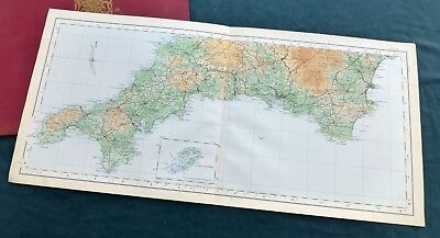 THE DUCHY OF CORNWALL, 1922 - Vintage Cloth Ordnance Survey sheet map.