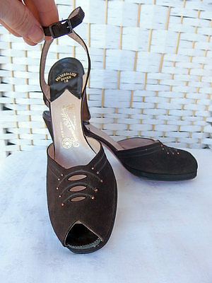 Vtg NOS 40s/50s Brown Suede Stud Cutout Peeptoe Platform PIN UP Heels 7.5/8/8.5N