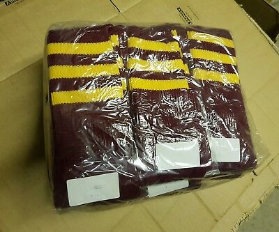 Football Socks Rugby Hockey Maroon 3 Gold Yellow Stripes Pack of 12 New Ref C8