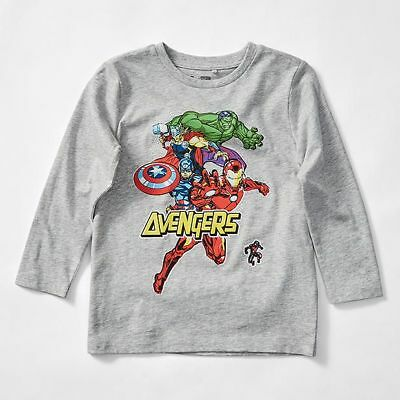 NEW Marvel Avengers Long Sleeve Print T-Shirt With Removable Cape Kids
