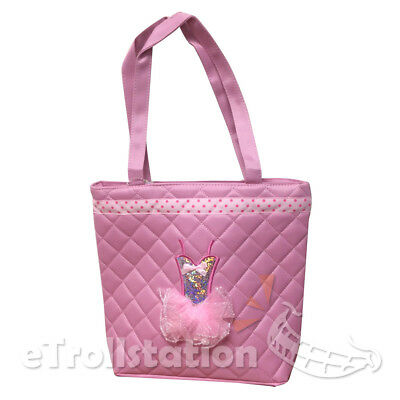New Girls Light Pink Tote Dance Bag Dance Quilted 3D Dress Ballet Tutu on Front