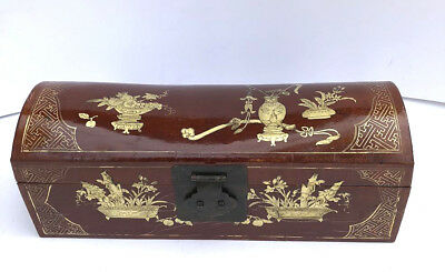 Antique Chinese brown and lacquer skin wood long box with brass handles