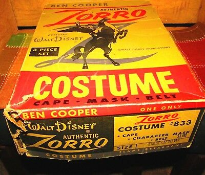 Vintage Ben Cooper Authentic Zorro Costume Box-Official Walt Disney-Look ! & VINTAGE Ben Cooper Costume Sarge Outfit Beetle Bailey TV Show ...