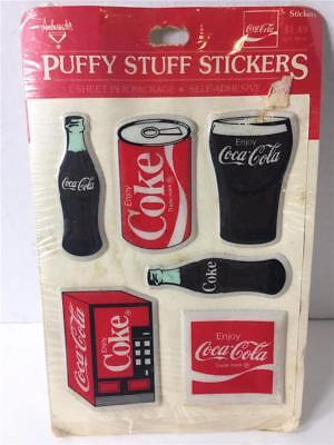 Vintage Hallmark Coca Cola Coke Puffy Stuff Stickers Rare Bottle Can Machine NOS