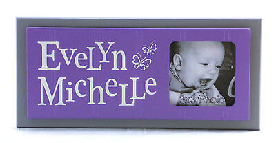 Purple and Gray Butterfly Nursery, Personalized Baby Name Gift, Picture Frames