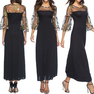 Sexy Women Lace Mesh Sheer Embroidered Floral Casual Party Beach Long Midi Dress
