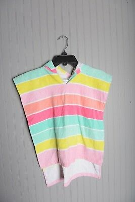 Striped Hooded Towel Cover Up Cat & Jack Beach Pool Bright Pink Yellow Blue  M/L