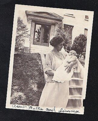 Old Vintage Antique Photograph Mom With Adorable Baby in Front of House