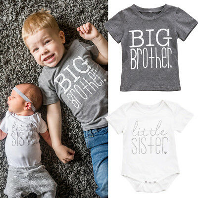 USA Toddler Kids Baby Boys Girls Big Brother Tops T-shirt Little Sister Romper