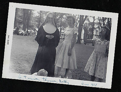 Old Vintage Antique Photograph Catholic Nun Standing in Yard With Woman & Girl