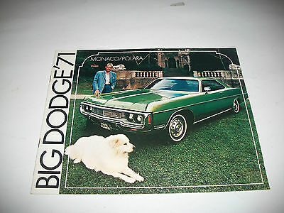 "Cdn Market 1971 ""big Dodge"" Sales Brochure Monaco/polara Clean No Dealer Stamp"