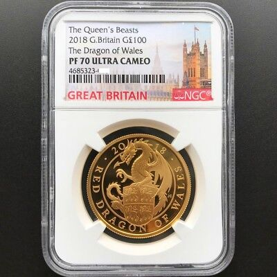 Queen's Beasts 2018 Great Britain £100 Dragon Of Wales Gold Proof Coin NGC PF 70