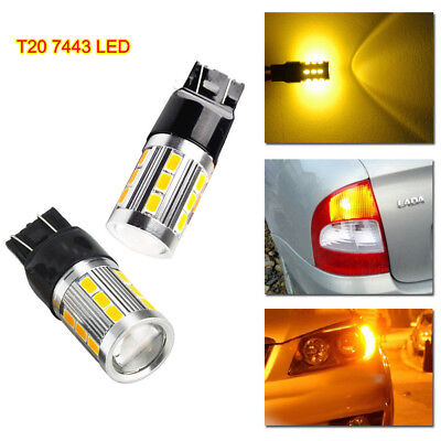 2x T20 7443 W21W LED DRL Canbus Sidelight Bulb for OPEL VAUXHALL CORSA D Amber