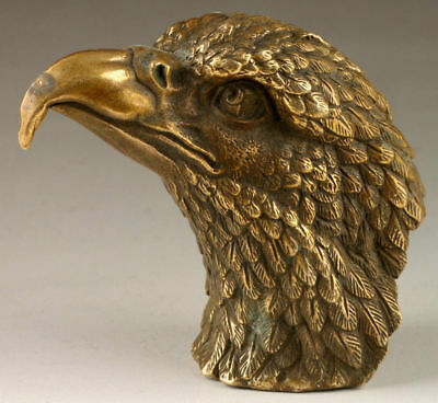Chinese Vintage Handmade Exquisite Vivid Eagle Head brass Statue