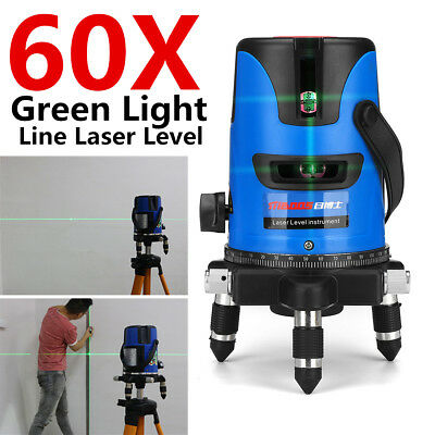 360° Rotation Self-Leveling Laser Level Green Light 5 Lines 60 Time Measure Tool