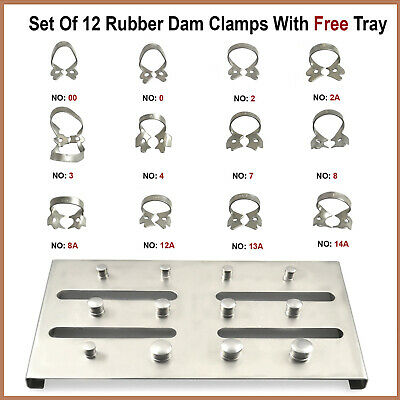 Set Of 12 Endodontic Rubber Dam Instruments Dental Restorative Clamps With Tray